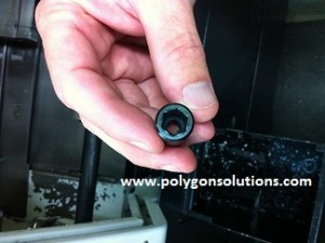 10mm Nylon hexagon made using Polygon Solution's GT Series Rotary Broach Tool Holder